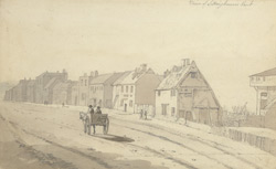 Pencil drawing of a street in Sittingbourne